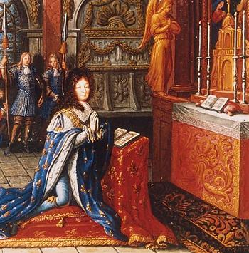 Miniature: Louis XIV praying in the royal chapel of 1682.