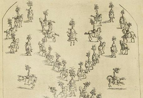 Copperengraving: Horse ballet — click to enlarge image.