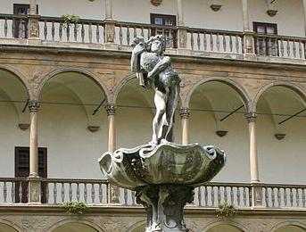 Bučovice château — Bacchus, Mannerist fountain in the courtyard — Giovanni Giacomo Tencalla & Pietro Maino Maderno, 1635–1637 — Photo: Helmuth Furch, 24 August 2006.